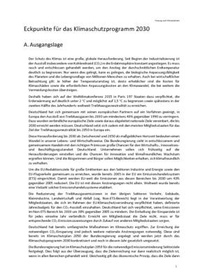 eckpunkte für das klimaschutzprogramm 2030